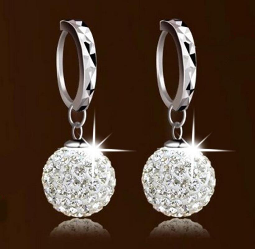 925 puur zilver hanger oorbel vol strass bal oor gesp oorbellen mode - Mode-sieraden - Foto 3