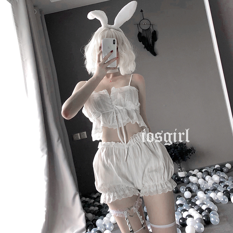 Image 4 - Womens Sexy White Chiffon Lingerie Set Lolita Ruffle Underwear Panties Bondage Nightwear caitsuit costume transparent dress-in Lingerie Sets from Novelty & Special Use