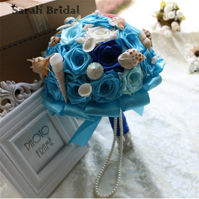 In Stock Blue Beach Wedding Bouquet With Satin Flowers Shells Peals Bride Beach Wedding Flowers Bouquet buque casamento WF056DB