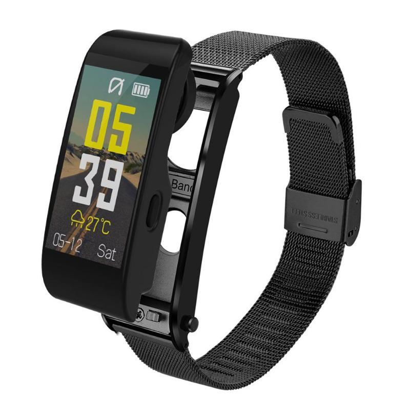 ALLOYSEED Bluetooth Montre Bracelet À Puce Mains Libres Appel Musique Lecteur Sport Bracelet Casque Fitness Tracker Moniteur de Fréquence Cardiaque