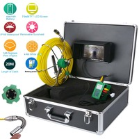Pipe Inspection Video Endoscope Camera 20M 30M 50M IP68 Waterproof Drain Pipe Sewer Inspection Camera System 7LCD 1000 TVL