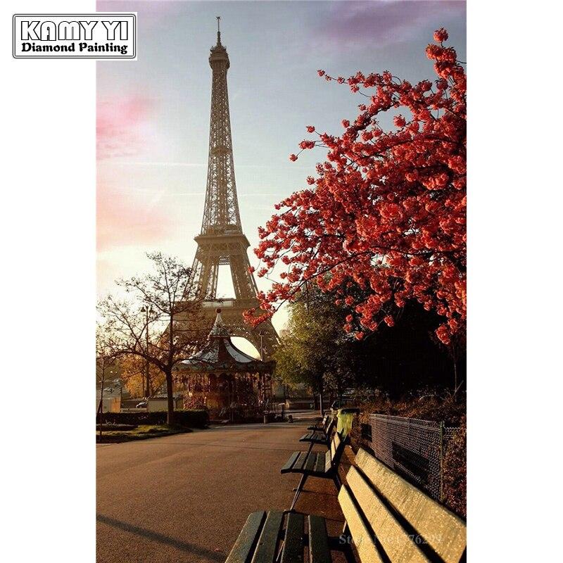 DIY 5D Diamant Mosaïque paysage Eiffel Tour à la main Diamant Peinture Point De Croix Kits Diamant Broderie Motifs Strass