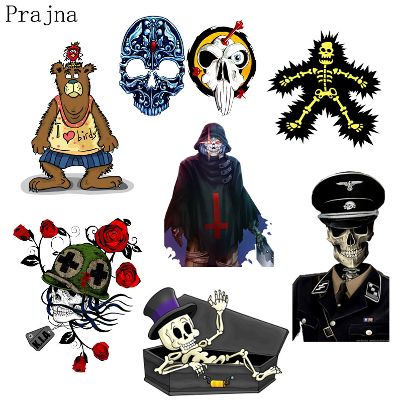 US $1 15 30% OFF|Prajna Iron on Transfers Skull Biker Patch Vinyl Heat  Transfer Patches For Clothes Ironing Patch Police Applique Badge  Washable-in