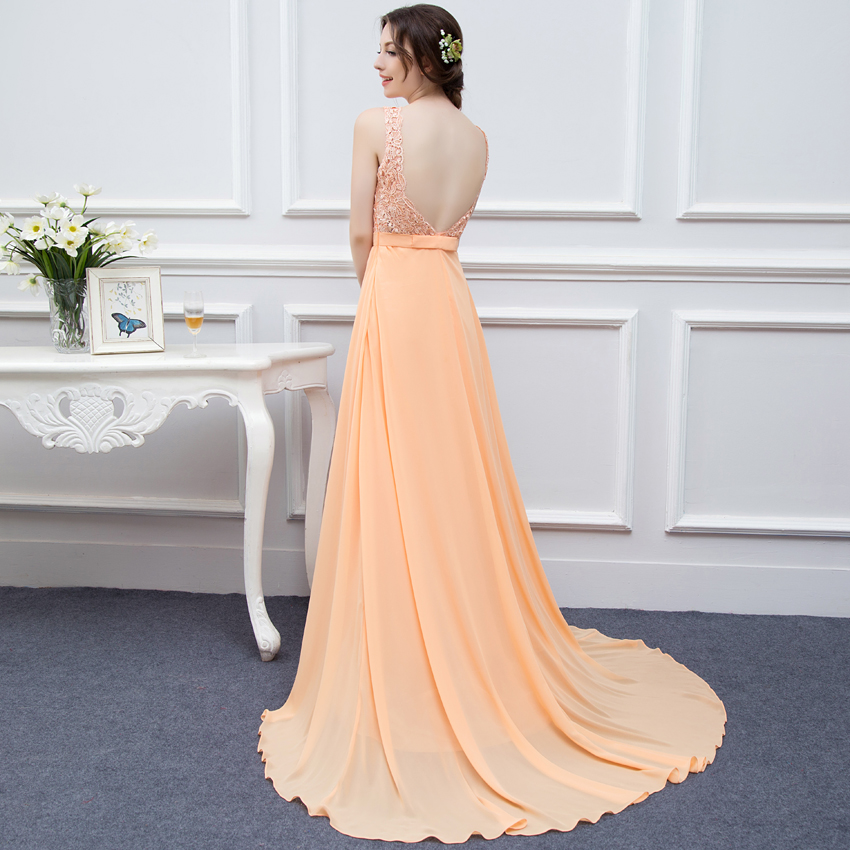 ee4669dc8a9b 100% Real photos High Quality Coral Peach Long Prom Dresses 2017 Nude Back  Chiffon Lace Applique Cheap Prom Gowns Long DressesUSD 85.00/piece