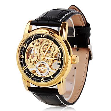 ORKINA Relógio Masculino Automático Auto Vento relógio, Esqueleto Relógio Homens Ouro Oco Gravura genuíno Relógios de Pulseira de Couro