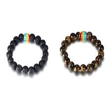 2019 Bracelet Men Women Handmade Tiger Eye Bead Rainbow Bead Bracelet Jewelry