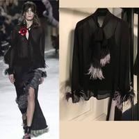fashion blusas for women amazing sexy V neck bow collar with feather blouse,elegant women 100% silk blouses,chiffon blouse top