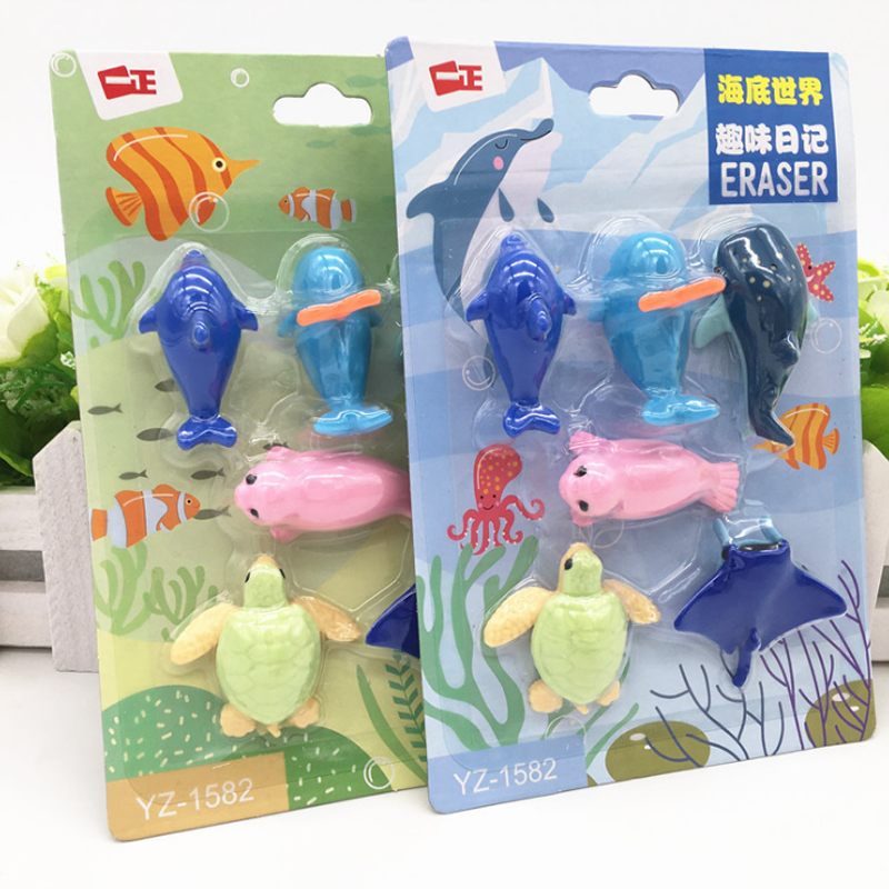 6 Pcs/pack Cartoon Marine Animal Dolphin Tortoise Shark Whale Seal Pencil Eraser Mini Fish Rubber Eraser Office Stationery