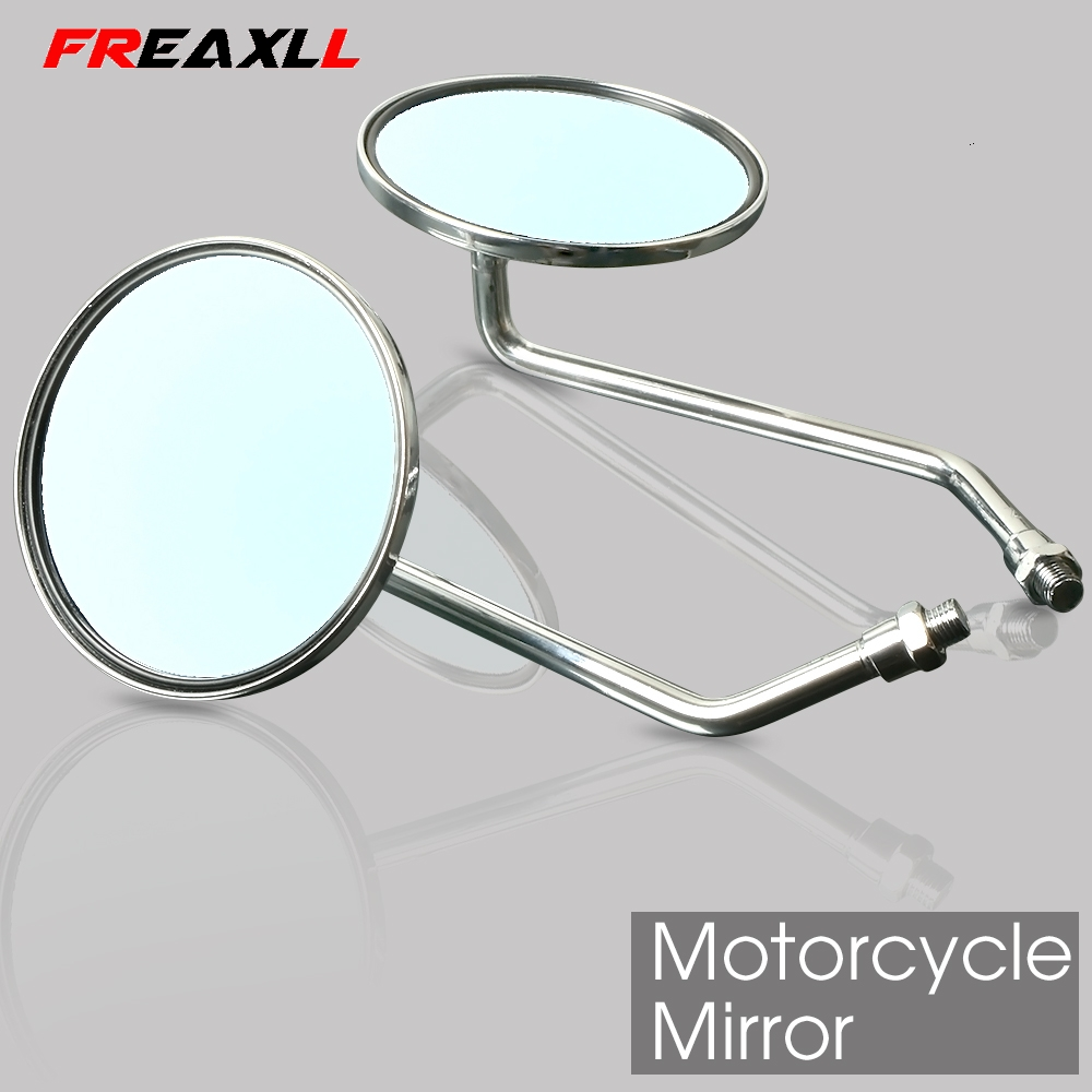 Motorcycle Rearview Mirrors 8/10mm Retro Stainless Steel Side Mirror For Suzuki intruder Honda Shadow 600 750 YAMAHA SR400 FZ6N