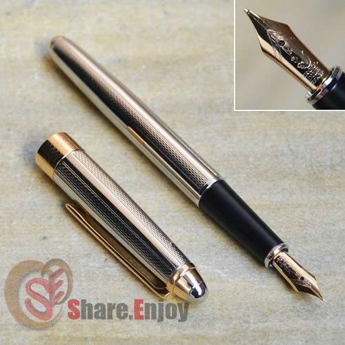 CROCODILE 136 SILVER AND GOLDEN 22KGP MEDIUM NIB FOUNTAIN PEN MESH italic nib art fountain pen arabic calligraphy black pen line width 1 1mm to 3 0mm