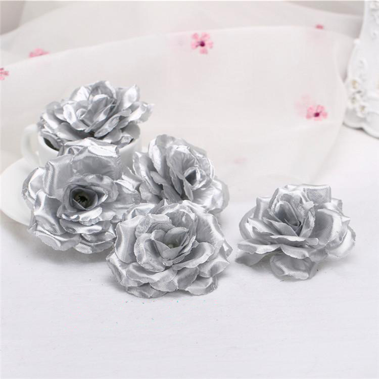 10pcs 8cm silver artificial rose silk flower heads decorative 10pcs 8cm silver artificial rose silk flower heads decorative flowers for wedding home party banquet decoration in artificial dried flowers from home mightylinksfo