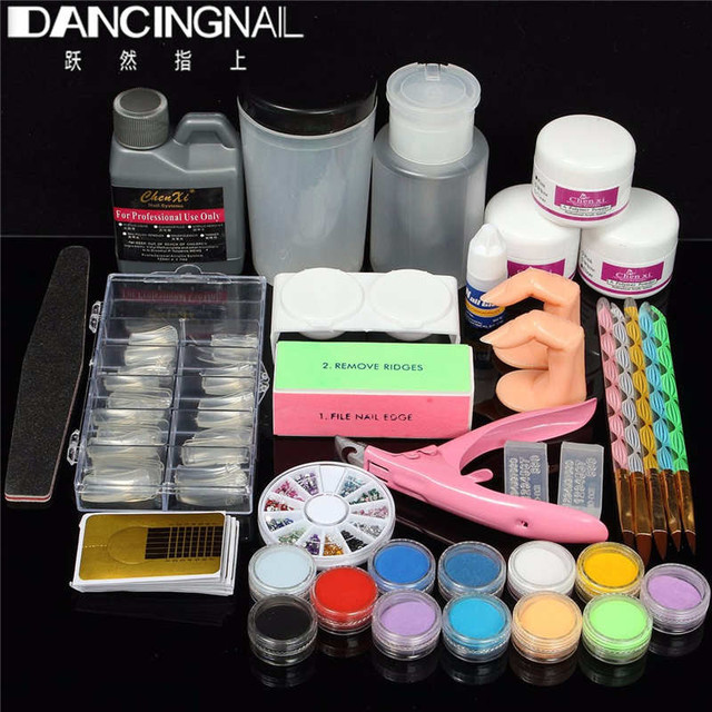 New Pro Nail Art Acrylic Liquid Powder French Tips Pump Stand File Clipper Kits Manicure Set High Quality