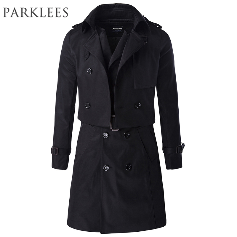 2016 long black trench coat men brand two pieces manteau. Black Bedroom Furniture Sets. Home Design Ideas
