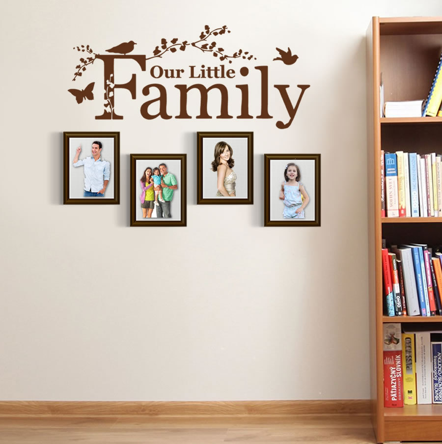 decorating living room walls with family photos designs pictures modern our little wall sticker home decor bedroom decals nursery girl boy decoration vinyl wallpaper a26