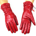 Estilo elástico alargado rojo de piel de oveja guantes de cuero genuinos femeninos guantes de forro de terciopelo de oro chaqueta de frío calentador de la mano
