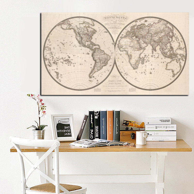 Vintage poster print earth moon world map painting eastern western hd print eastern western hemispheres retro world map oil painting on canvas for modern wall picture gumiabroncs Image collections