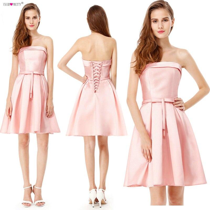 Ever Pretty 2018   Cocktail     Dresses   fuchsia vestido de noiva EP05577 Short Design Pink color Lace up Bridal Party   Cocktail     Dresses