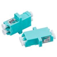 200Pcs/Lot Fiber Optical Connector Flange Coupler LC OM3,MultiMode Duplex LC/UPC Aqua Fiber Optic Adapter Adaptor