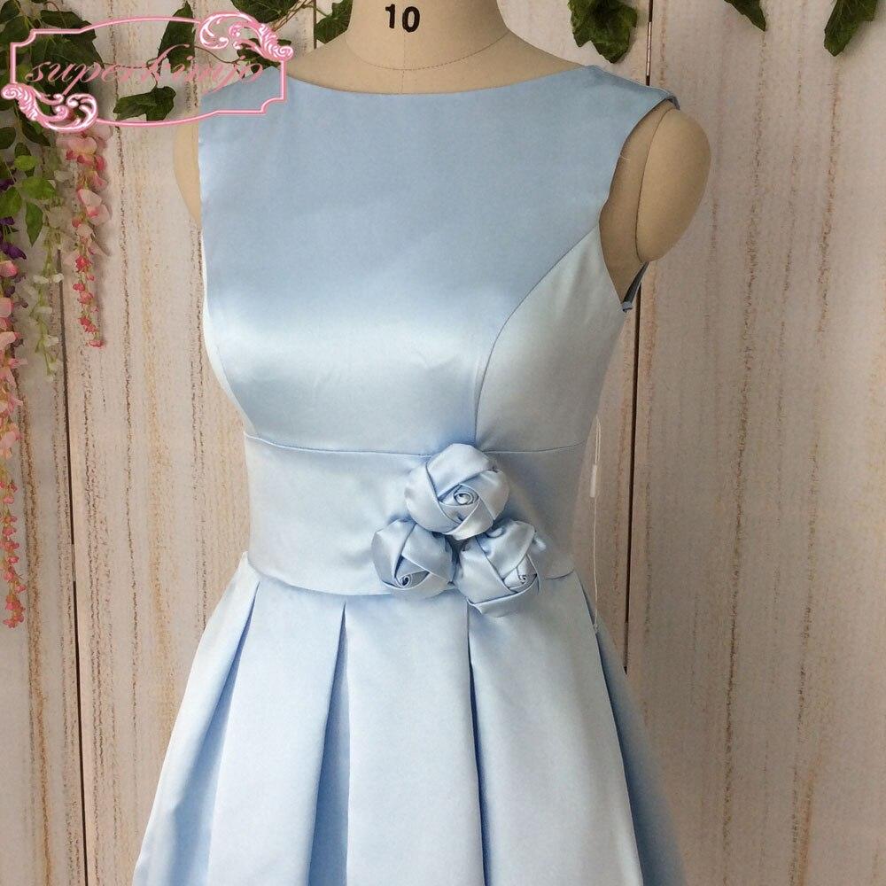 SuperKimJo Vestido De Madrinha Satin Blue Short Bridesmaid Dresses ...