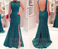 Cheap Price ! In Stock ! 2016 New Arrival Split Lace Backless Long Formal Gowns