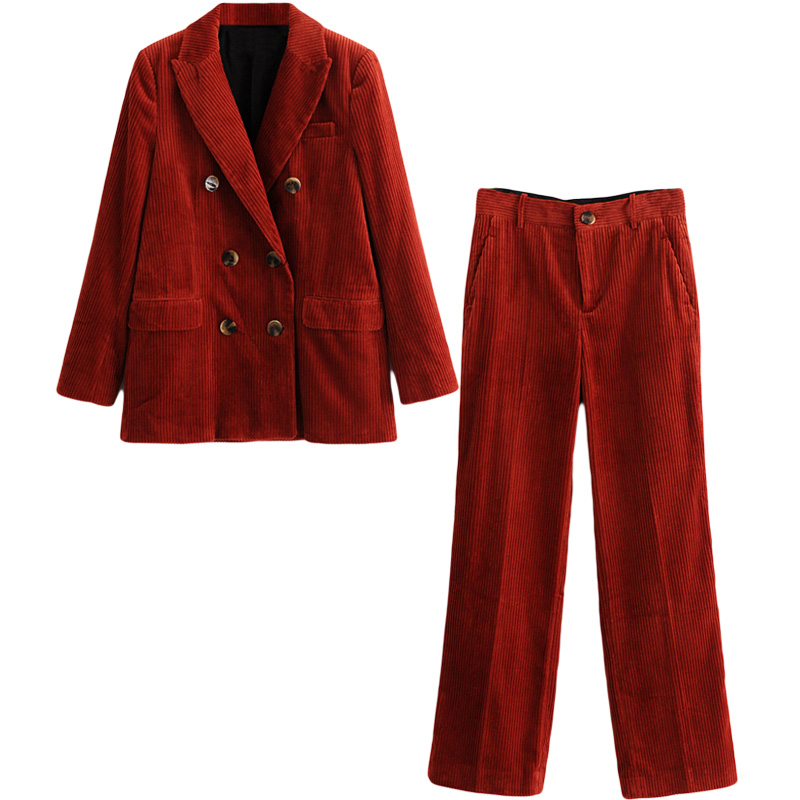 e08f7547506 Woman Pant suits retro British style fashion trousers suit double-breasted  corduroy Blazers jacket+casual Pants two-piece female