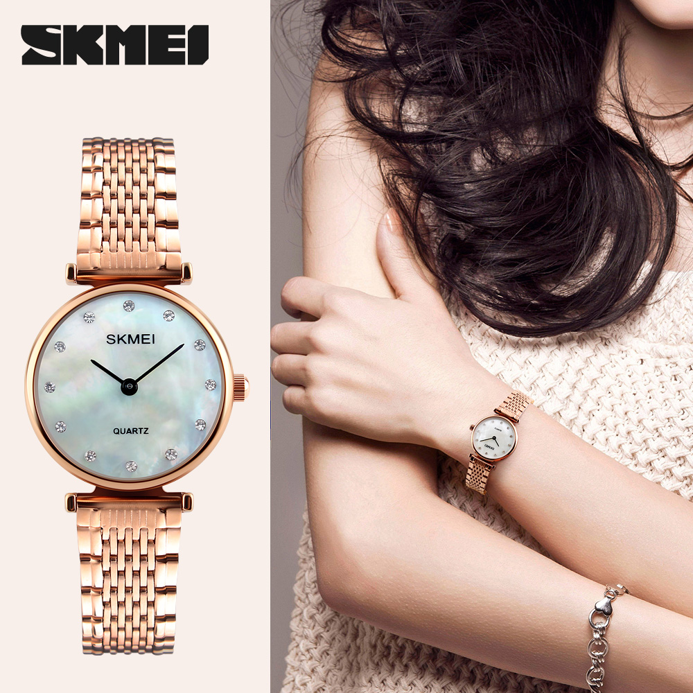 SKMEI Quartz Watch Women Clock 2017 Ladies Wrist Watches Female Famous Luxury Brand quartz-watch Relogio Feminino Montre Femme classic simple star women watch men top famous luxury brand quartz watch leather student watches for loves relogio feminino