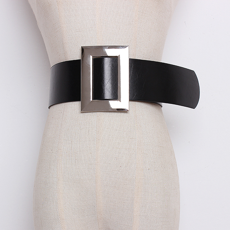 Top Quality black Leather Belts for Women Cummerbund Luxury Female wide silver metal Decorative Simple Waist Belt accessories