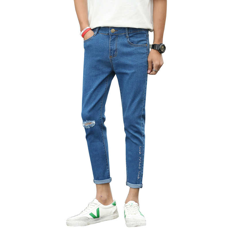beba3d4a0f78 Jeans for men slim fit pants male denim jeans students thin Designer  Trousers Casual skinny Straight