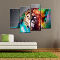 4 Picture Canvas Paintings Modern Abstract Art Colorful Lion Paintings Print on Canvas The Picture Wall Art for Home Decoration
