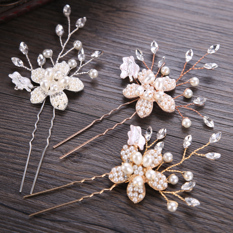 BYSPT Womens Flower Wedding Bridal Party Accessary Handmade Hair Pin Clip Fashion Jewelry
