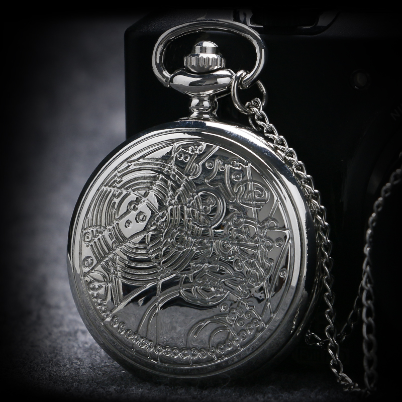 Men Women Silver Doctor Who Designer Quartz Pocket Watches With Long Necklace Chain Gift Round Clock 6