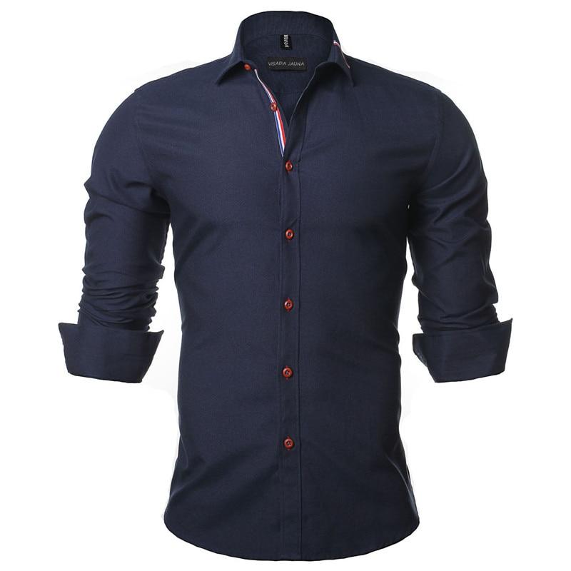 VISADA JAUNA 2019 New Men Shirt рубашка Solid Color Long Sleeve Casual Brand  Camisa Social Masculina Business Dress 5XL N352