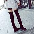 Novas Chegadas Mulheres Aumento Do Joelho-Comprimento Botas Plano Com o Pano de Camurça Elástico Chaminé Longo Tubo Fêmea Na Altura Do Joelho de Altura botas