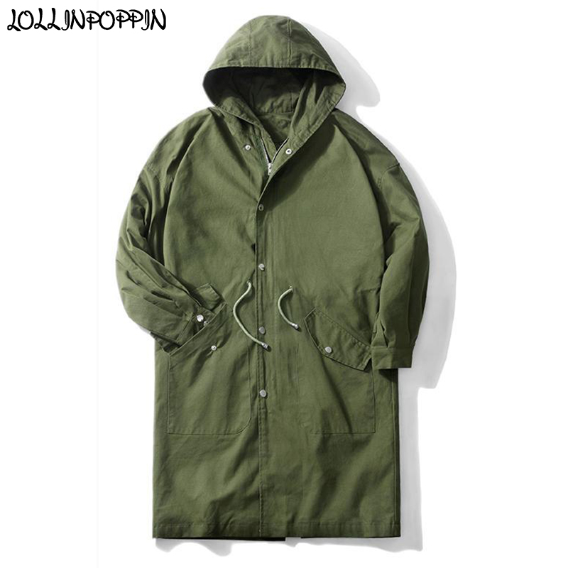 Men Army Green Long Style Hooded Trench Coat Waist Drawstring Japan Style 2019 Spring & Autumn Mens Loose Jacket Black