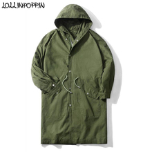 Men Army Green Long Style Hooded Trench Coat Waist Drawstring Japan Style 2019 S