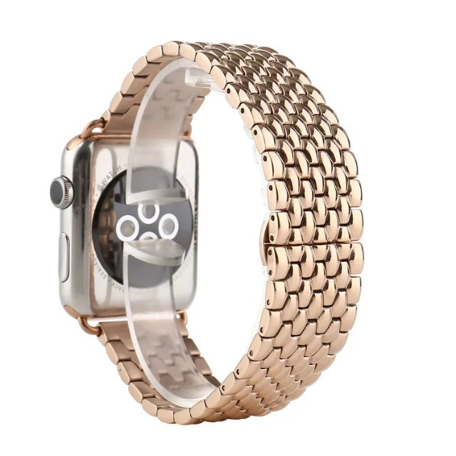 все цены на NEW Stainless Steel 7 Points Watch Band for Apple Watch 38mm 42mm Iwatch Strap Black Silver Rose Gold Butterfly Clasp Bracelet онлайн