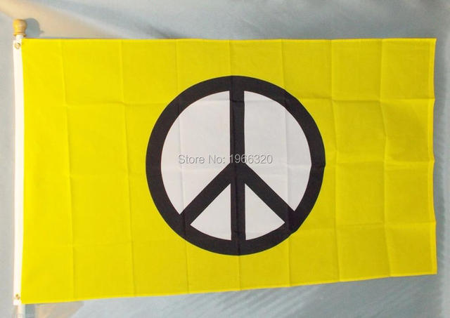 PEACE SYMBOL YELLOW Large New Banner Flag 3ft x 5ft