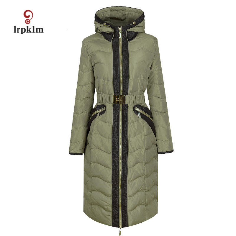 2017 New Fashion High Quality Women Winter Long   Down   Jackets With Hooded Collar Female Warm Duck   Down     Coat   Slim Waist PQ107