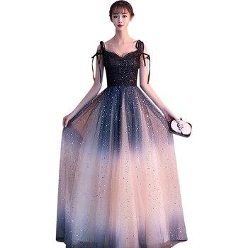 Lace Dress Elegant Bridesmaid's Wedding Party Dresses Women New sexy V-collar gradient formal banquet dress vestidos de fiesta