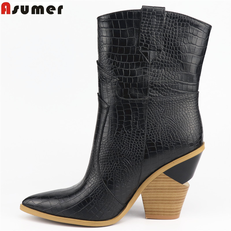 ASUMER Size 34 46 HOT 2019 New fashion Ankle Boots Women Pointed Toe Autumn Winter Boots