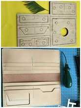 Regla de hoja de acero japonés troquelado, punzón de acero, BILLETERA, molde para recortar troqueles de madera para cortador de cuero para manualidades de cuero, 200x90mm