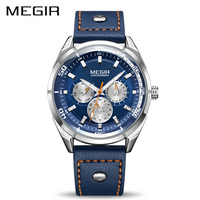 Megir Luxury Brand Men Quartz Watches Men S Army Military Sports Watch Genuine Leather Band Waterproof