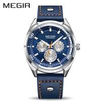 Megir Luxury Brand Men Quartz Watches Men S Army Military Sports Watch Genuine Leather Band Waterproof