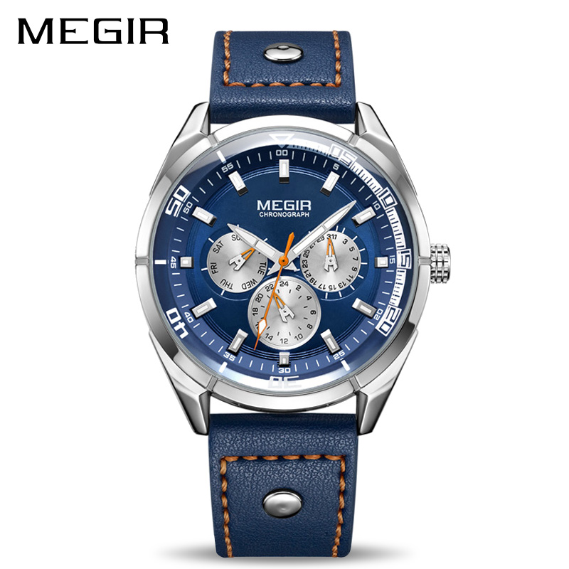 Megir Luxury Brand Men Quartz  Watches Men's Army Military Sports Watch Genuine Leather Band Waterproof Clock Relogio Masculino luxury brand pagani design waterproof quartz watch army military leather watch clock sports men s watches relogios masculino