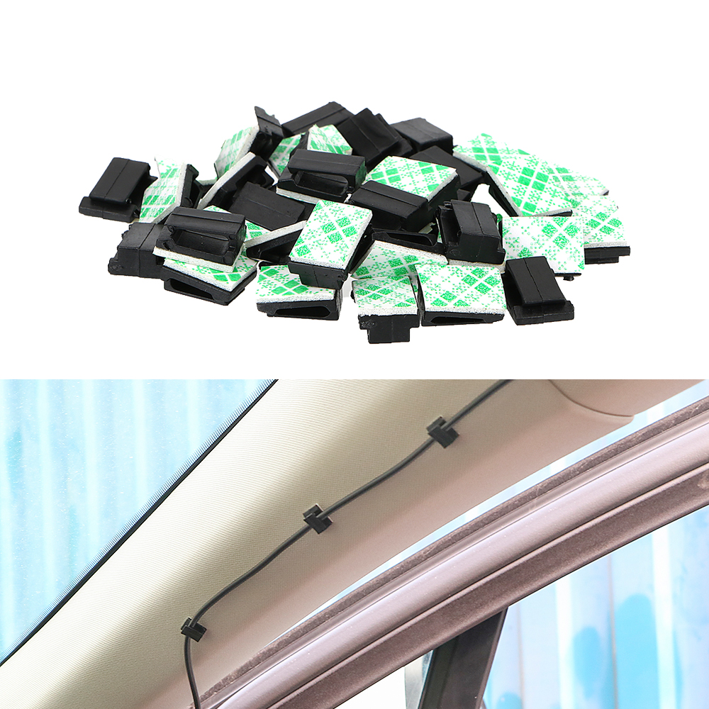 AutoE 40Pcs Car Vehicle Data Cord Cable Tie Mount Wires Fixing Clips Self-Adhesive