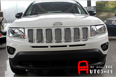 Pour Jeep boussole 2011 2012 2013 2014 2015 ABS Chrome avant Center calandre garniture 7 pièces