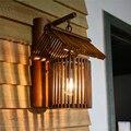Китайский настенный светильник ручной работы  бамбуковый светильник для коридора  спа-клуба  бара  ресторана  кафе  бра E27