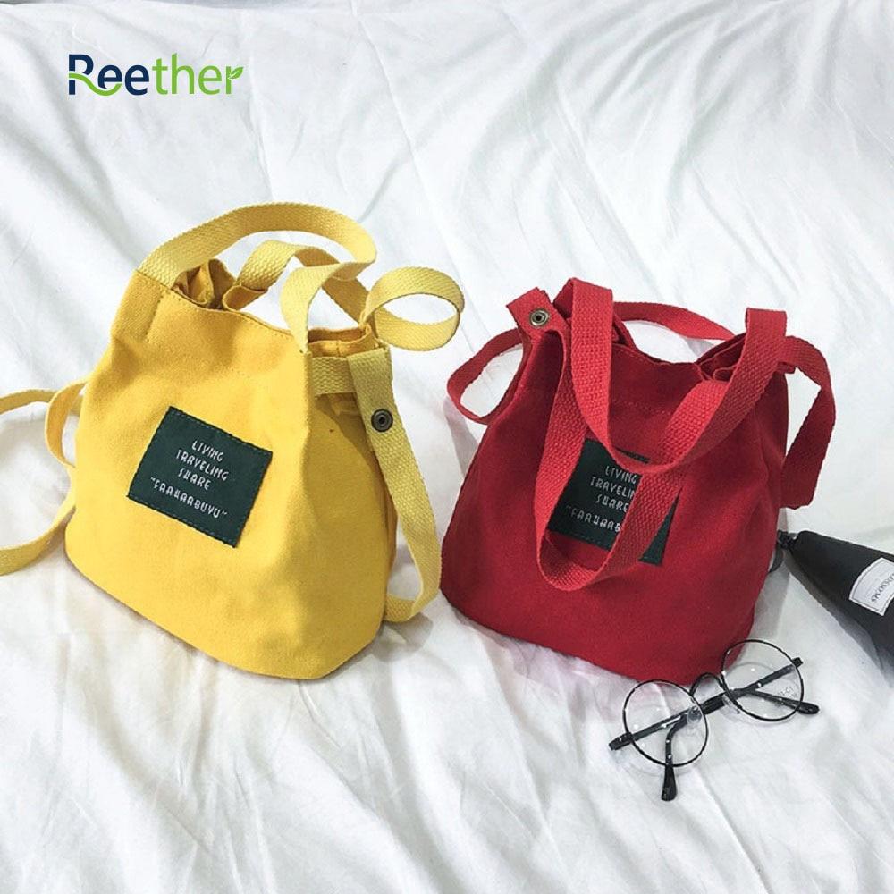 Reether Cavas Shopping bag Beach Satchel Bag Girl Messenger Shoulder Tote S Bucket Bags Women Fashion Shoulder Bag