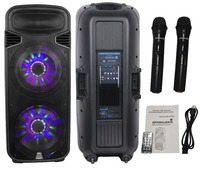 STARAUDIO SDM 15RGB 4500W Dual 15 Powered DJ Stage LED RGB Light USB SD FM BT Speaker W/ 2CH Wireless Microphones