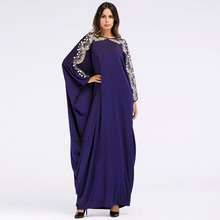 New Ladies Dress Fashion Lace Embroidered Sequin Wide Cuff Muslim Dresses Dark Blue Bat Sleeve Loose Big Size Maxi Long